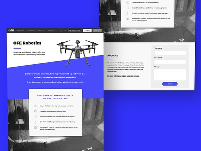 OFE Robotics website ux ui landing page