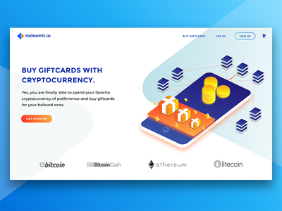 Crypto & Gift Cards landing design gradient landing website isometric present cards gift crypto illustration ux ui