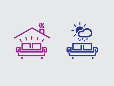 Indoor Outdoor Furniture Icons indoor outdoor furniture icon symbol couch weather line stroke cloud sun roof