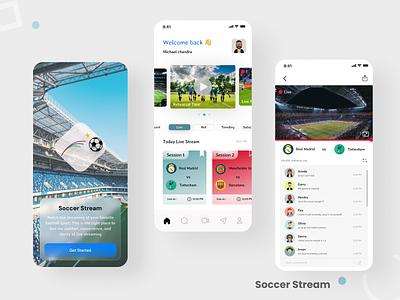 Sport live streaming (soccer) design app illustrator logo vector typography branding ui ux illustration design app