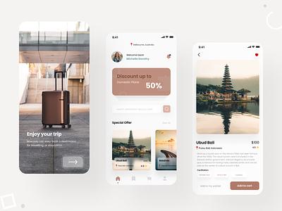 Travel Booking App typography clean ui ios vacation staycation destination tour app trip app design minimal ui ux design travel travel app mobile app interface ux ui mobile app