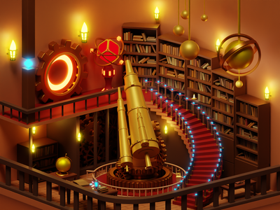 Observatory Room steampunk observatory astronomical room portal library gem telescope planet book magic illustration cycles blender 3d art 3d