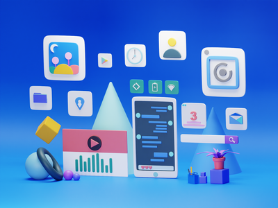 Mobile Apps clock file photo mail music player chat theme image phone ux branding ui logo design illustration cycles blender 3d art 3d