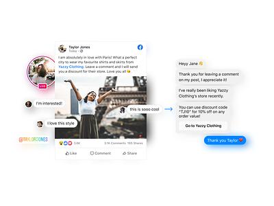 Comment-to-Messenger ux ui mockup design explainer instagram illustration branding website graphic design graphic