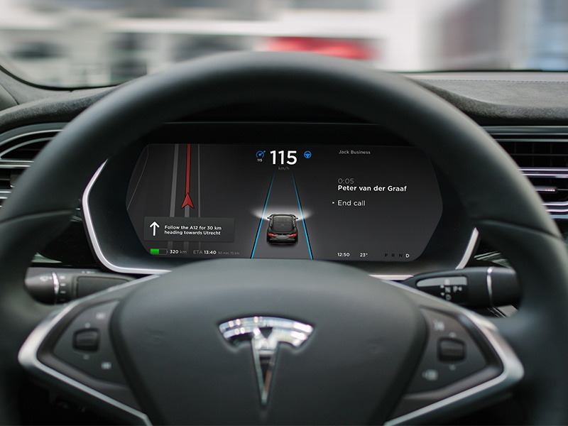 Tesla Instrument Cluster on autopilot principle sketch experience user tesla model in-car cockpit ux ui car automotive