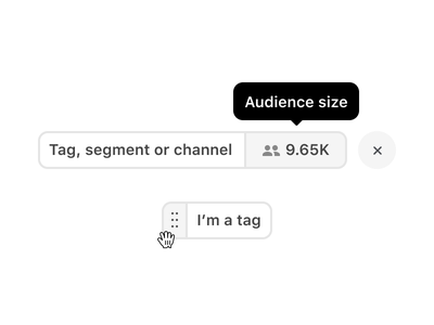 Tags refinement list segmentation segment channel tags tag pills pill category categories audience