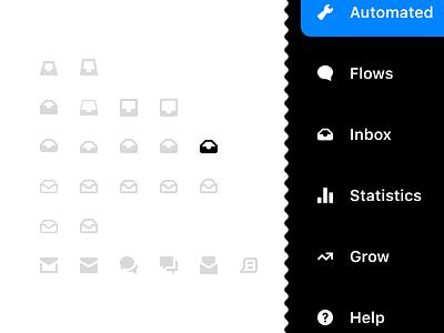 Inbox icon menu sidebar menu sidebar conversational conversations navigation inbox icon design iconography icon