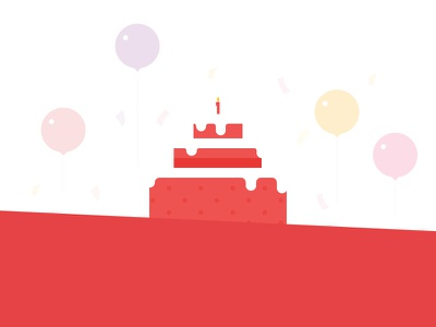 It's our birthday! peppertap icons balloons candles cake birthday illsutration
