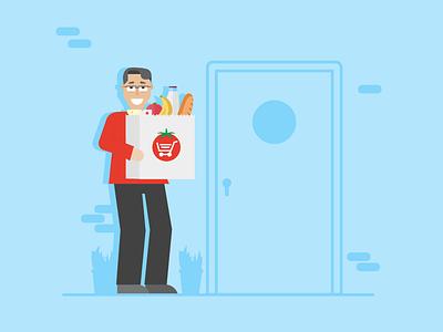 Knock Knock grocery app app grocery illustration peppertap delivery door knock