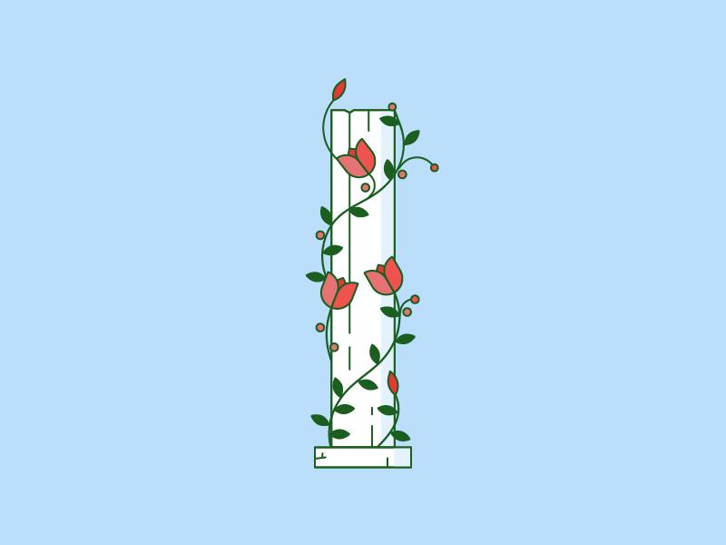 36 days - I column greek garden flower vine typography 36daysoftype