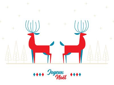 Joyeux Noël deer illustration 2018 new year december winter card holidays merry christmas