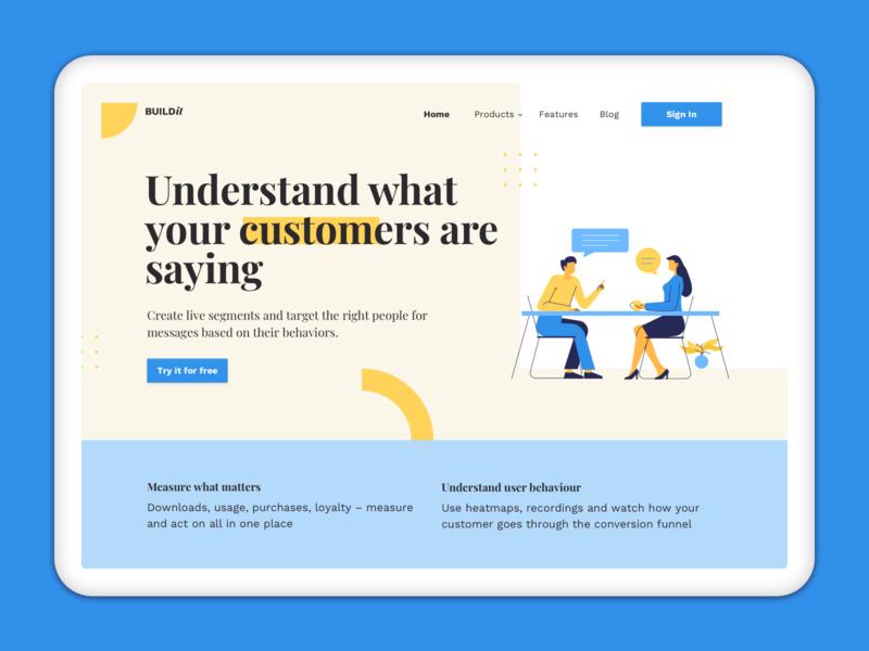 Landing Page Design for User Analytics Website