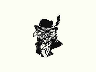 Eagle Aristocrat In A Hat Logo branding design vector logo illustration