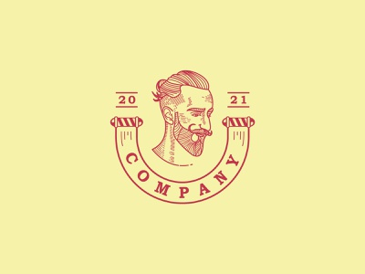 Bearded Stylist Logo branding design vector logo illustration