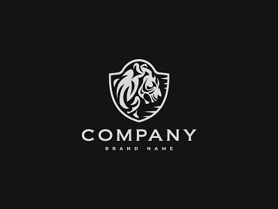Tiger On The Shield Logo branding design vector logo illustration