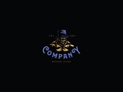 Gorilla Gentleman Logo illustrator animation branding design vector logo illustration