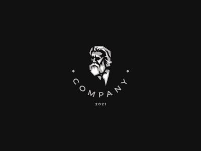 Bearded Gentleman Logo illustrator icon branding design vector logo illustration