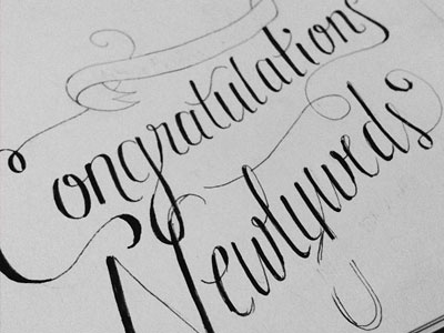 newlyweds wip congratulations wedding typography sketch