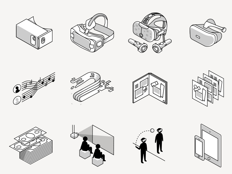 isometric virtual reality icons isometric vr lined icons illustration virtual reality icons