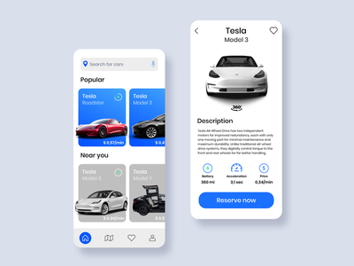 Car Rental App Design Concept car rental leasing dailyuichallenge daily ui app ui design ui tesla electric car clean minimalism minimalist rental car app vehicle trip automotive concept one-way mobile ui