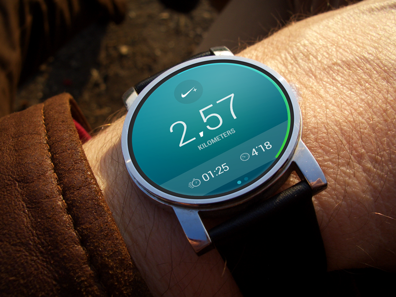 Android Wear Nike Running android wear nike running smartwatch watch moto moto360 ui concept