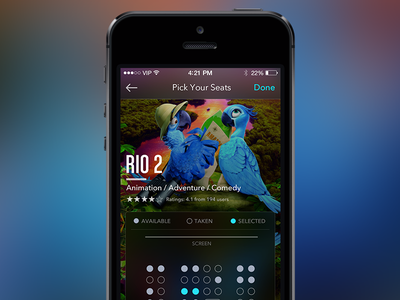 Cinema App - iOS7 ios ios7 app cinema movie booking ui ux rio ticket iphone interface
