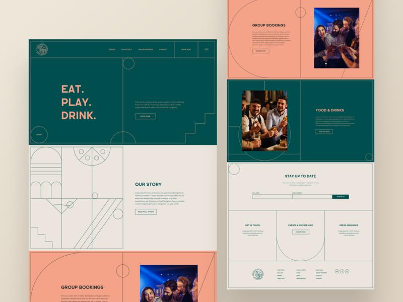 Eat. Play. Drink. booking group ux ui web desktop line art shapes vector drink mini golf play food golf