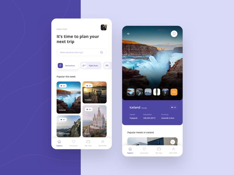 Travel App #2 mobile ui travel app app adventure design trip screen ux travel interface place search
