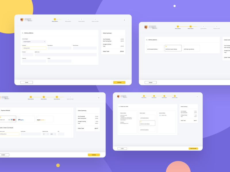 Desktop Checkout Process payment method ui ui design payment delivery interface ux ux design ecommerce e-commerce checkout process checkout form form checkout cart