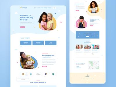 Day Nursery Landing Page desktop website www landing page landing web ux ui school kindergarten child children kids nursery