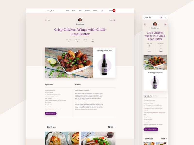 Recipe Page mobile desktop shopping list basket wine drink overlapping recipe web ux ui food