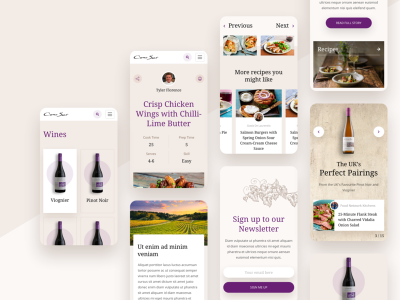 Wine & Food Mobile newsletter recipe page design clean food wine winery ux ui mobile recipe