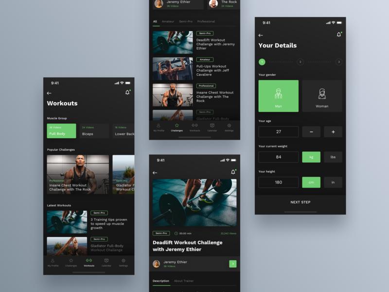 Workout App #2 design mobile workout gym dark interface app ux ui ios