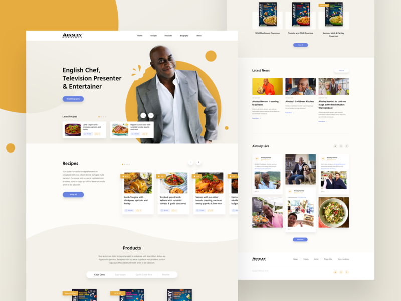 Celebrity Chef Homepage recipe light theme product food clean social feed web ux ui design homepage promotional chef