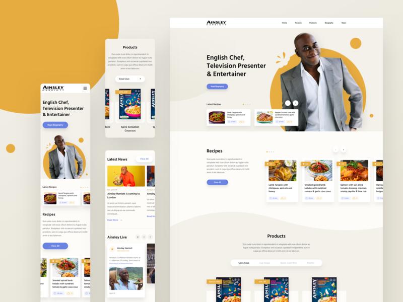 Celebrity Chef Homepage #2 design fresh clean ux ui mobile desktop recipe food chef
