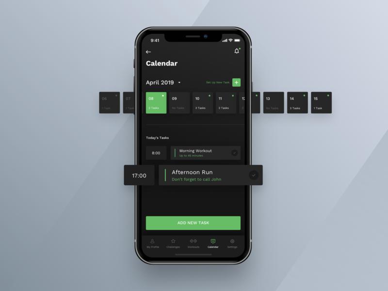 Workout App #4 dark theme reminder task calendar workout app design mobile ux ui ios