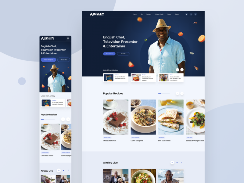 Celebrity Chef Homepage #3 mobile landing landing page web news instagram recipes chef food clean ux ui