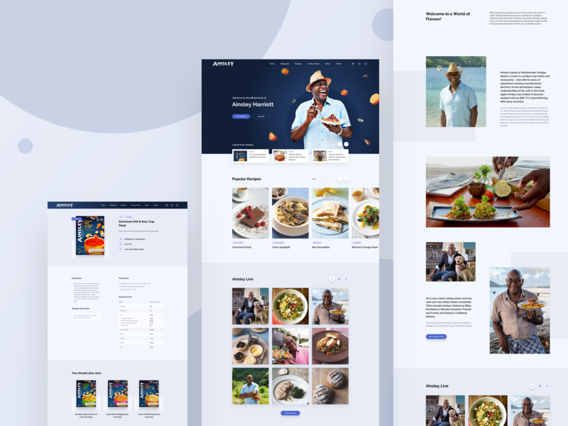 Celebrity Chef Website web clean ui social feed light theme recipe cooking website biography product page ux ui chef