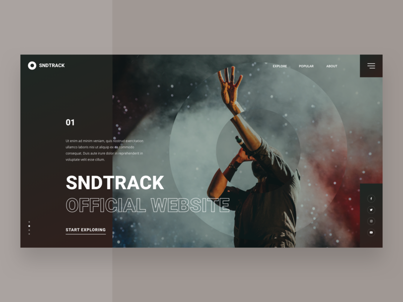 SNDTRACK photo concept interface grid carousel homepage website ux ui design web