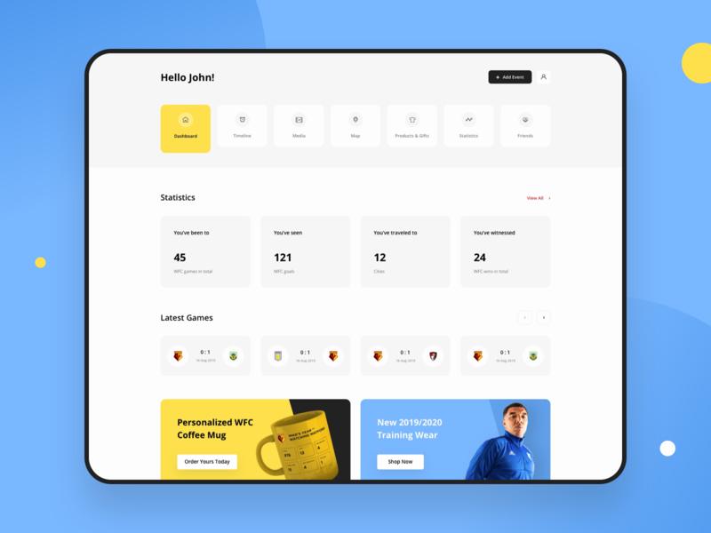 Football Fan Dashboard graphics product design platform ux ui clean design web app web design dashboard sport dashboard