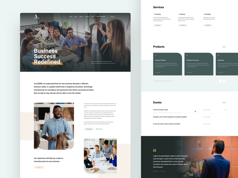 Business Consultancy Homepage ux ui homepage landing page desktop clean courses events testimonial services product coach business