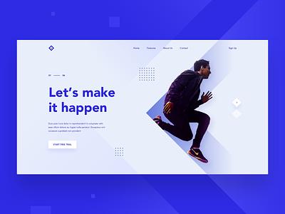 Let's make it happen shapes desktop clean landing modern ui web design