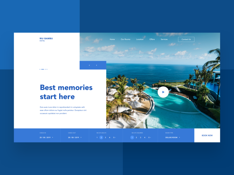 Hotel Web Design web ux ui video modern clean check in booking landing page website hotel