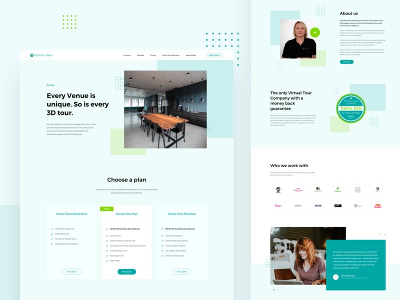 Virtual Tour Company plan pricing web design ux ui website testimonial layout virtual tour