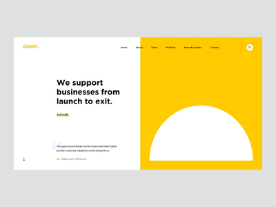 VC Firm Homepage Animation finances www web ux ui start up landing page yellow homepage animation desktop clean business