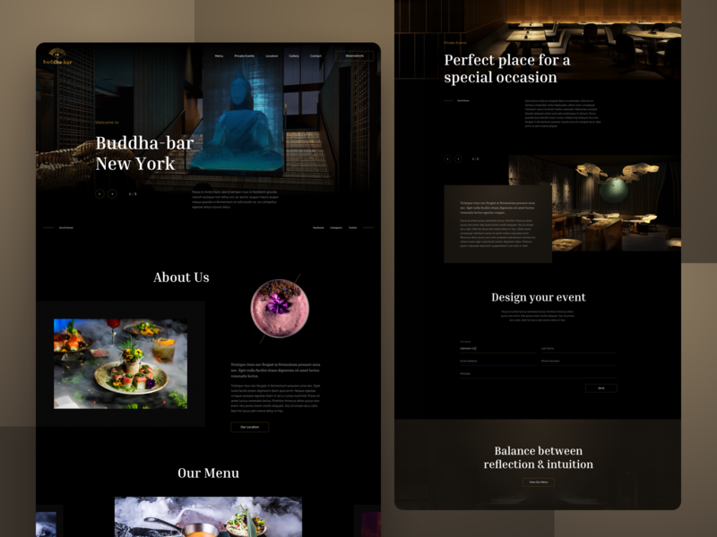 Restaurant Web Design web dark theme events landing page homepage website restaurant food