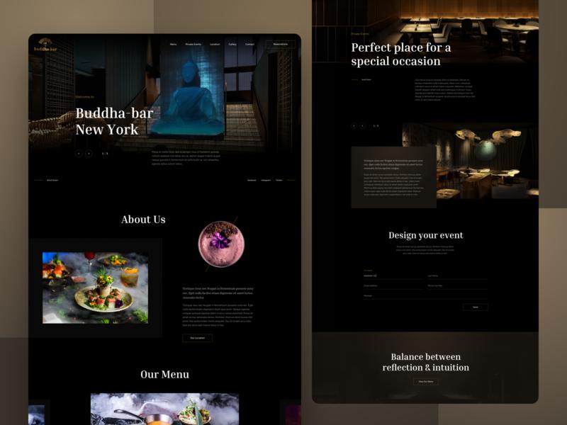 Restaurant Web Design web dark theme events landing page homepage website restaurant food
