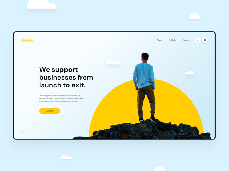 VC Investor Homepage Hero #2 top section modern design ui web start up desktop clean homepage hero business