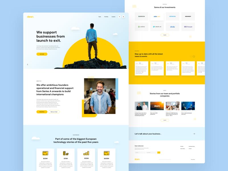 VC Investor Homepage Design web ux ui clean icons landing page homepage fun desktop business