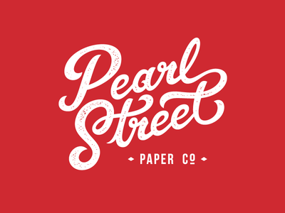 Pearl Street texture company paper lettering hand script logo type typography custom